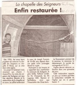 chapelle des seigneurs 1996-article