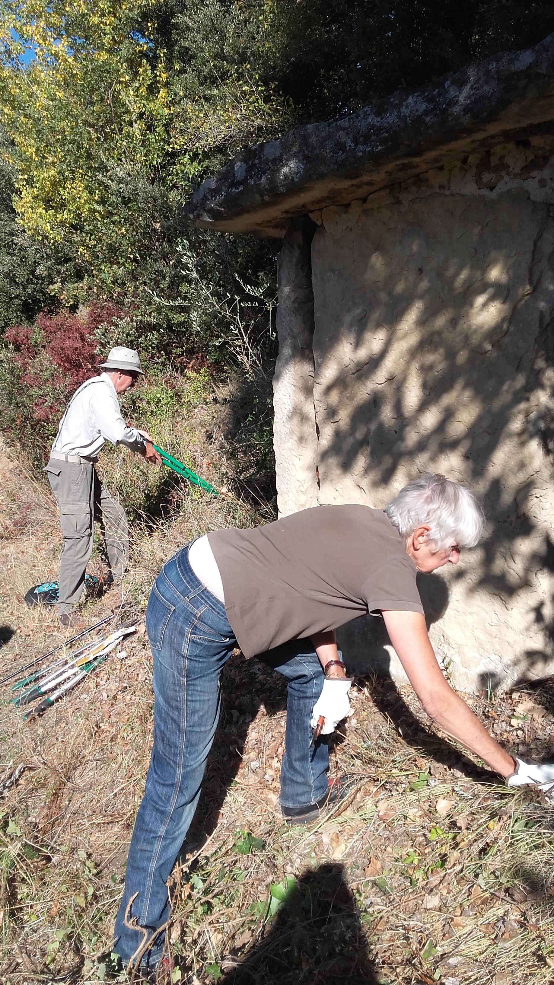 Cabanon en dalles de pierre- débroussaillage
